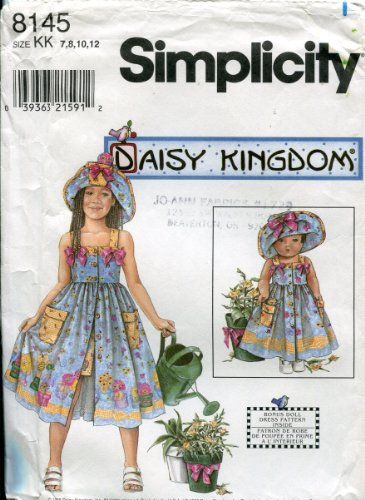 "Simplicity Daisy Kingdom Pattern 8145 ~ Girls' Sundress, Shorts, Hat, Doll Clothes For 18"" Doll ~ 7-8-10-12"