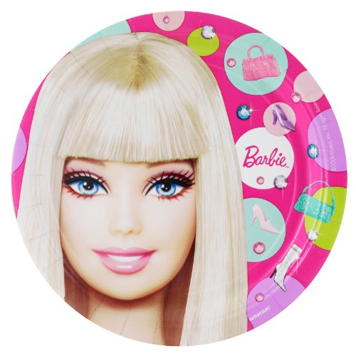 "Amscan Barbie All Doll'd Up 9"" Paper Plate, 8-Count - 1"