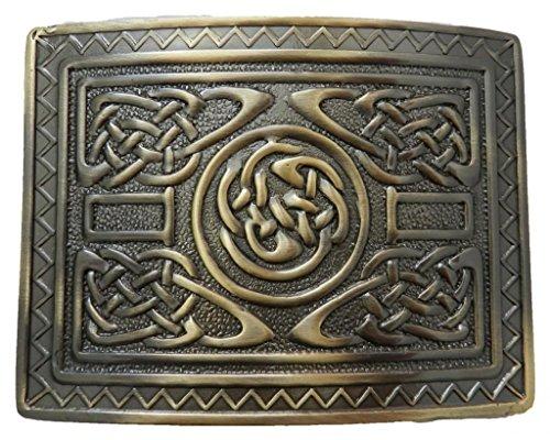 Scottish Kilt belt buckle #12 Antiqued Brass Finish