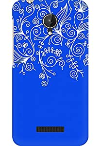 AMEZ designer printed 3d premium high quality back case cover for Micromax Canvas Spark Q380 (dark blue white design pattern abstract)