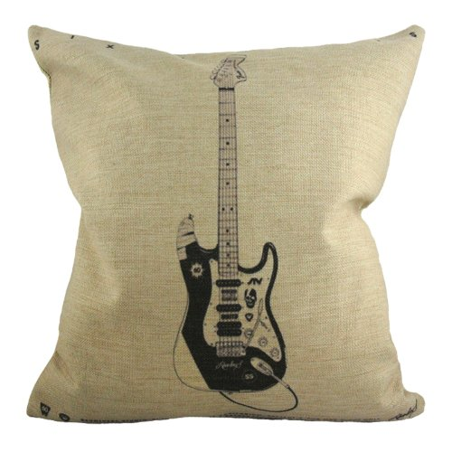 Nava Black Pop Electronic Rock N Roll Guitar Band Decorative Pillowcase Cushion Cover front-368672