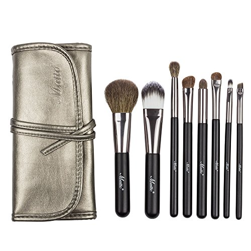 Matto Goat Hair Makeup Brushes Professional 8-Piece Travel Makeup Brush Set Make Up Brushes with Bag (Make Up Bush Mac compare prices)