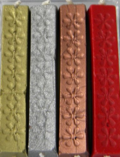 Popular Gold, Silver, Copper, & Bright Red Flexible Sealing Wax (with wick) – 4 Sticks