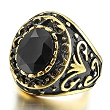 buy Bishilin Mens Black Gold Plated Stainless Steel Rings With Black Round Stone Size 12