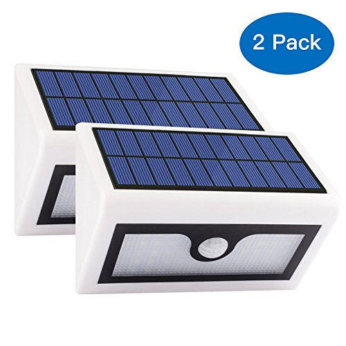 Volador 2 Packs 50 LED Solar Lights, Outdoor Wireless Security Lights, Motion Activated Solar Light, Wall Mount Solar Light for Garden Patio Deck Yard Path Driveway(White)