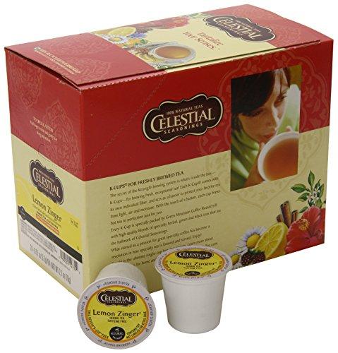 Celestial Seasonings Lemon Zinger Herbal Tea, K-Cup Portion Pack for Keurig K-Cup Brewers, 24-Count