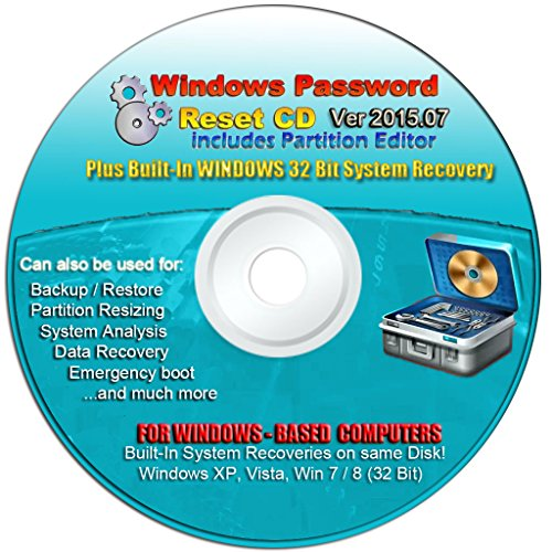 Recovery Boot Password Reset Cd Plus For Windows Xp, Vista, 7, 8 (All Versions Of Windows) front-772366