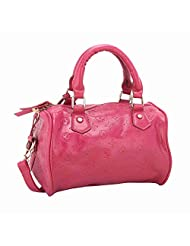 NIROSHA Synthetic Leather Pink Fashion Handbag For Women - B0174YJMGM