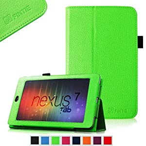 FINTIE (Green) Slim Fit Folio Stand Leather Case Cover for Google Asus Nexus 7 Inch Android Tablet -9 Color Options
