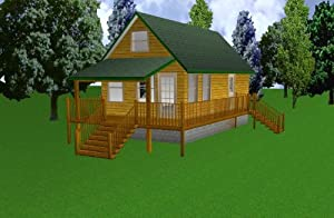 16x30 cabin w loft plans package blueprints material for Easy cabin designs