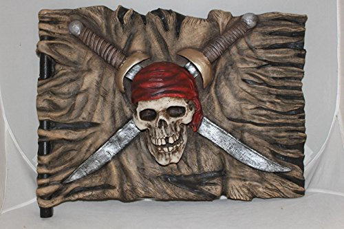 3 D Pirate Flag Halloween Decoration Prop Wall Plaque Sign NEW Swords Skull