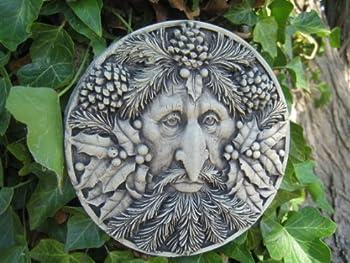 Green man WINTER stone garden ornament by Ornamental Weather