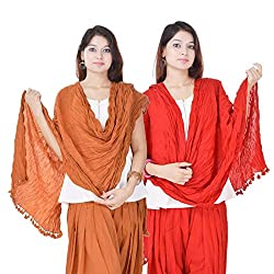 Kalrav Solid Orange and Red Cotton Dupatta Combo