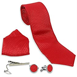 Archies Four Piece Striking Red Tie Set(Tie, Tie Pin, Cufflinks and Pocket Square) -TS-89070890010496-Red-Style