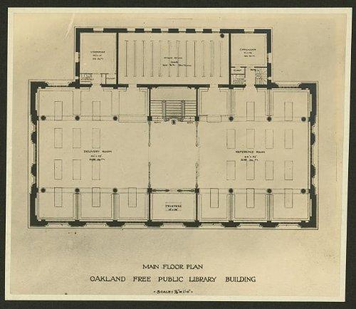 Oakland Free Public Library building,floor plan,c1900