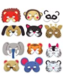12 Assorted Foam Animal Masks for Birthday Party Favors or Dress-up Costumes