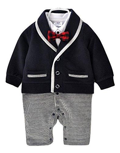 ベビー ロンパース 男の子 かわいい フォーマル スーツ 風 カバーオール (70cm)
