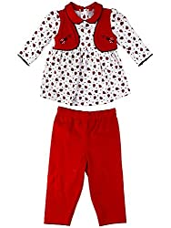 Littleopia Baby Girls' Dress (L01-1212 - 001A-C_Red White_0-3 Months)