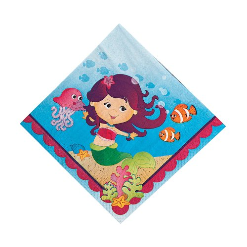 Mermaid Birthday Party Luncheon Lunch Paper Napkins (16 count)