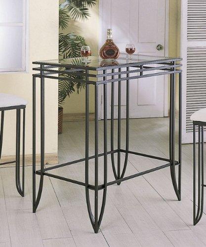 Cheap Matrix Design Black Wrought Iron Bar Table w/Clear Glass Top Insert (VF_7407)