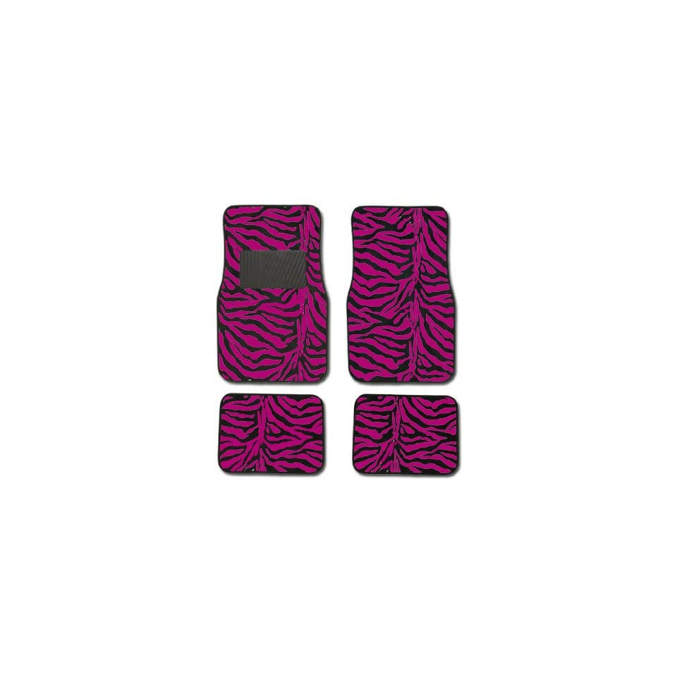 Hot Dark Pink Zebra Tiger Animal Print Car Truck SUV Front & Rear Seat Carpet Floor Mats   4PC