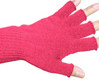 Unisex Warm Half Finger Stretchy Knit Gloves - Hot Pink