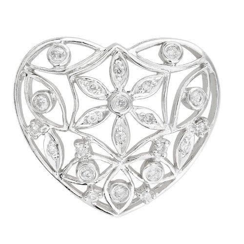 0.22cttw Garden heart pendant bezel and pave set with round diamonds in 14K white gold