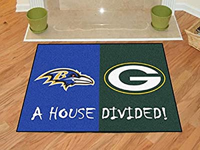 FANMATS 15646 FanMats NFL - Baltimore Ravens - Green Bay Packers House Divided Rugs 34x45