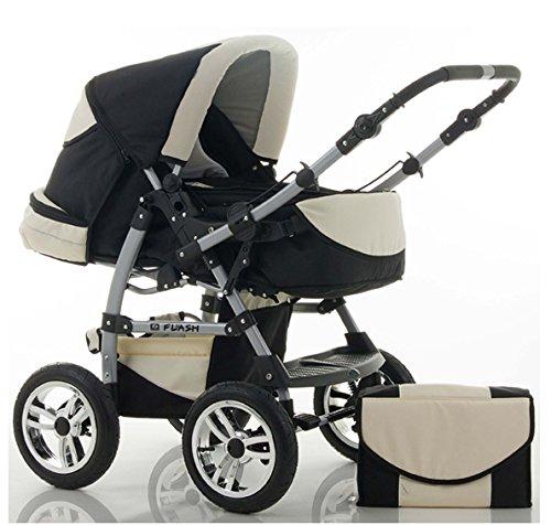 14-teiliges-Qualitts-Kinderwagenset-2-in-1-FLASH-Kinderwagen-Buggy-Megaset-all-inklusive-Paket-in-Farbe-SCHWARZ-PEARL