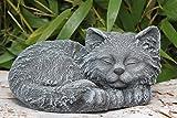 Steinfigur Katze schlafend Steinguss Schiefergrau