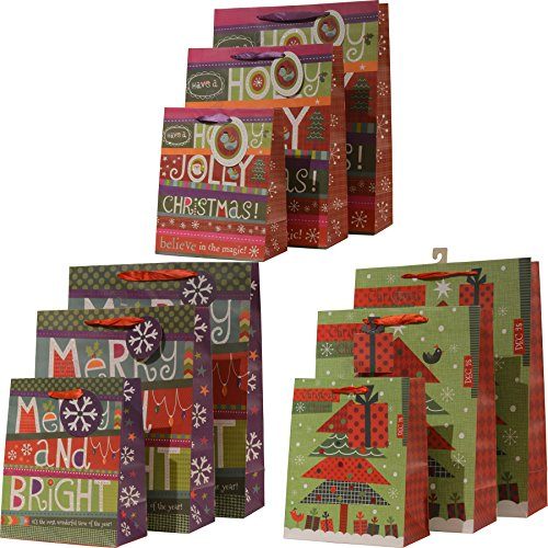 Christmas Gift Bags, Merry and Bright festive holiday designs, set of 12 bags in assorted sizes and colors