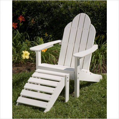 Lifestyle Poly Resin Flat Back Adirondack Chair Finish: White