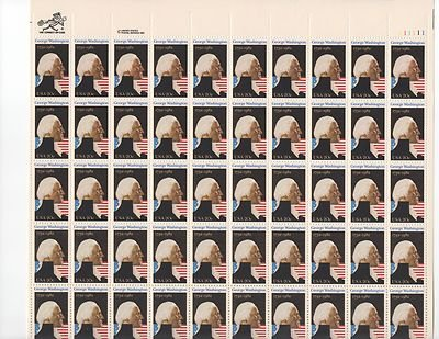 George Washington Sheet of 50 x 20 Cent US Postage Stamps NEW Scot 1952