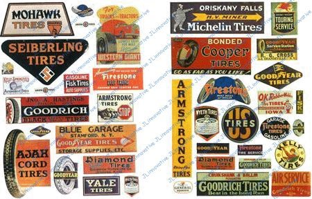 VINTAGE TIRE SIGNS FOR GAS STATION (40) - JL INNOVATIVE DESIGN HO SCALE MODEL TRAIN ACCESSORIES 363