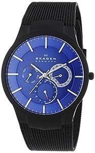 Skagen Titanimum White Label Men's Quartz Watch with Blue Dial Analogue Display and Black Titanium Strap 809XLTBN
