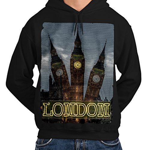 Londra Grande Ben vista Orologio Uomo Nuovo Nero Felpa con cappuccio S | Wellcoda