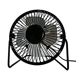 PATHY 4 Inch Mini USB Fan With Aluminium Blades, 360 Degree Rotatable Small Table Fan with 3 Anti-vibration Pads, Air Radiater for Laptop, Black