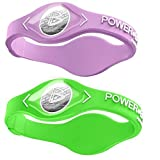 Power Balance Silicone Sports Wristbands-Lavender-PB-Lime-S-Pack-of-2