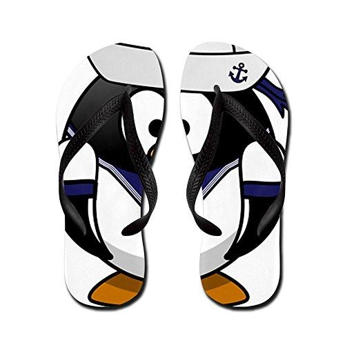 Truly Teague Men's Little Round Penguin - Navy Sailor Black Rubber Flip Flops Sandals 10.5-12