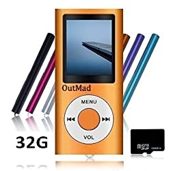 OutMad Orange 32 GB Mini Usb Port Slim Small Multi-lingual Selection 1.78 LCD Portable MP3/MP4, MP3Player , MP4 Player , Video Player , Music Player , Media Player , Audio Player and Voice Recorder