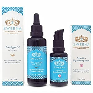 Zweena Argan Beauty Set (1.7oz Pure Argan Oil & 1oz Argan Rose Face Serum)