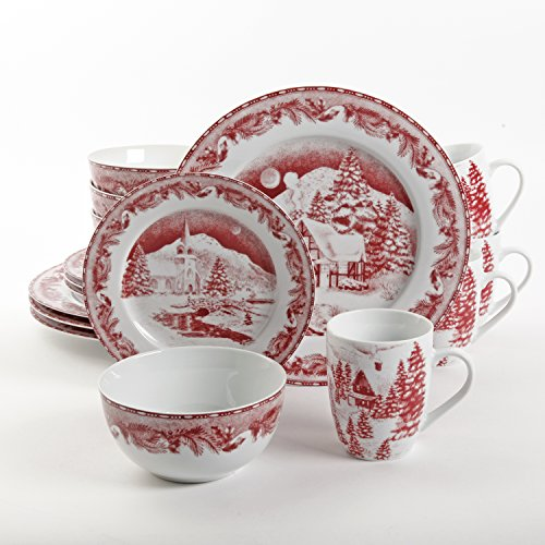 Gibson Winter Cottage 16 Piece Dinnerware Set, Red (Christmas Dishes compare prices)