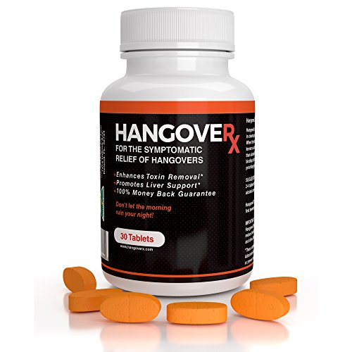 HANGOVERx for Hangovers, Detox & Liver Support | Contains B Vitamins, Milk Thistle, Ginger, Dandelion and Bacopa | Binds to Acetaldehyde | 30 Tablets