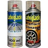 Sprayset für Mercedes Brillantsilber Farbcode: 744 Baujahr 1991 - 2006 Metallic Lack * 2 Spraydosen Ludwiglacke Lack Spray im Set - Eine Spraydose Basislack 400 ml und eine Dose Klarlack glänzend 400ml. Beide Spraydosen enthalten 1K Autolack.