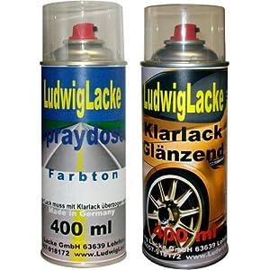 Sprayset für Fiat Nero Provocatore Farbcode: 891/B Baujahr: 2005 - 2010 Metalliclack * 2 Spraydosen Ludwiglacke Lack Spray im Set - Eine Spraydose Basislack 400 ml und eine Dose Klarlack glänzend 400ml. Beide Spraydosen enthalten 1K Autolack.