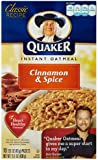 Quaker Instant Oatmeal Cinnamon & Spice, 10-Count Boxes (Pack of 4)