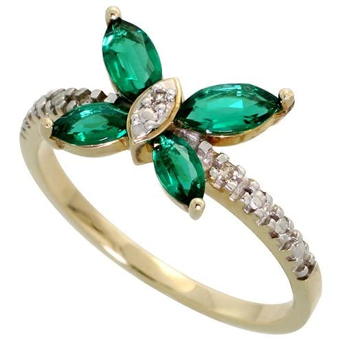 10k Yellow Gold Butterfly Ring with Round Brilliant Diamonds and Lab Created Emerald Stones