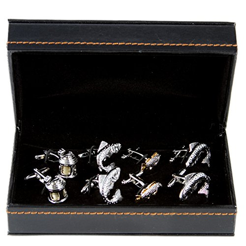 Fish fishing reel fisherman 4 pairs of cufflinks with a for Fishing gift box