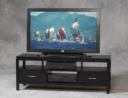 Cheap Linon Sutton Flat Panel/Plasma/LCD TV Stand in Black Finish (84026BLK-01-KD-U)