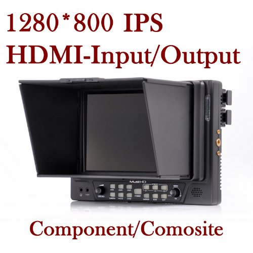 Musthd 7 Inch 1280X800 Camera-Top Field Monitor With Hdmi-Input/Output/Composite/Component/Marker/Exposure /Over-Scan /Aspect/ Hv Delay/ Focus Assist/ /Pixel To Pixel/Zoom /Sun Hood/Multiple Battery Compatible-M701A New Arriv